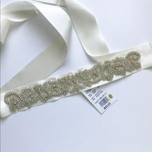 David's Bridal Ivory Embellished Bridal Belt